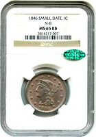 1846 1C NGC/CAC MS65 RB N 8 SMALL DATE PRETTY RED BROWN GEM   LARGE CENT