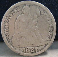 1887 LIBERTY SEATED SILVER DIME VG             S 187 1