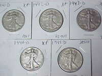 LOT OF 5 EXTRA FINE  WALKING LIBERTY HALF DOLLARS 1941-D 1942-D 1943-D 1944-D 1945-D