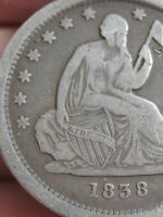 1838 SILVER SEATED LIBERTY QUARTER  VG/FINE DETAILS   DATE