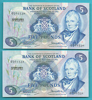 BANK OF SCOTLAND 5 NOTES 1970 IN SEQUENCE
