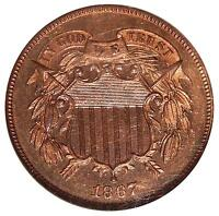 1867 2C NGC PR-66 RB  PROOF TWO CENT COPPER WITH RED OBVERSE
