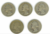 A MIXED LOT OF 5 CIRCULATED WASHINGTON SILVER QUARTERS FROM 1932 1937