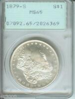 1879-S MORGAN SILVER DOLLAR PCGS MINT STATE 65 MINT STATE 65 PREMIUM QUALITY P.Q. RATTLER HOLDER
