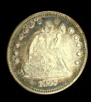 1877 SEATED LIBERTY SILVER QUARTER VF PRETTY BLUE & VIOLET TONING  2954