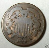 1868 TWO 2 CENT COIN PIECE POST CIVIL WAR COIN ONLY 2 MILLION CHOICE