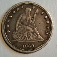 1860 LIBERTY SEATED QUARTER NICE