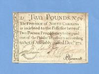 1771 TWO POUNDS NORTH CAROLINA COLONIAL CURRENCY HISTORY FINE CONDITION