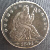 1854O HALF DOLLAR NOT PROFESSIONALY GRADED BUT A HIGH GRADE AGE TONED