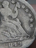 1849 O SEATED LIBERTY HALF DIME  VG/VERY GOOD DETAILS   KEY DATE