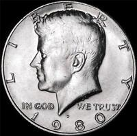 1980 P CHOICE BU ALL WHITE KENNEDY HALF   BEST VALUE @ CHERRYPICKERCOINS