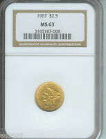 1907 1907 P $2.5 LIBERTY EAGLE NGC MS63 GOLD COIN LAST YEAR OF ISSUE BEAUTIFUL