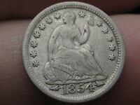 1854 SEATED LIBERTY HALF DIME  VF/XF DETAILS  FULL RIMS