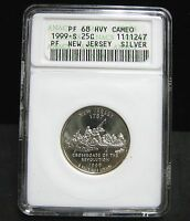1999 S NEW JERSEY PROOF SILVER QUARTER   ANACS  PF 68 HEAVY CAMEO   1247