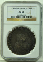 RUSSIA ELIZABETH SILVER ROUBLE 1750 MMD NGC AU50  THIS HIGH GRADE