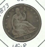 1839 1891 SEATED LIBERTY HALF DOLLARS  1873 CLOSED 3