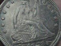 1873 SEATED LIBERTY QUARTER  AU/MS DETAILS LUSTER TONED