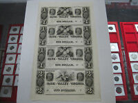 1800'S $1 & $2 UNCUT SHEET THE BANK OF THE VALLEY WINCHESTER VIRGINIA NOTE BILLS