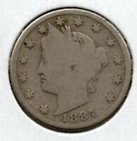 1887 V  NICKEL NICE COLLECTOR COIN  INSIDE THE US