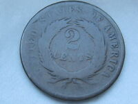 1864-1872 TWO 2 CENT PIECE- CIVIL WAR TYPE COIN, GOOD/VG REVERSE DETAILS