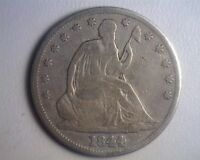 1844/44 SEATED LIBERTY HALF DOLLAR   RECUT DATE VG