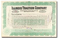 S234 ILLINOIS TRACTION COMPANY EARLY 1900S STOCK CERTIFICATE GREEN
