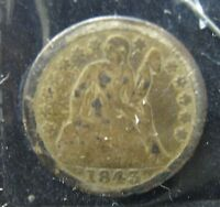 1843 LIBERTY SEATED SILVER DIME   GOOD     P 195