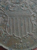 1867 TWO 2 CENT PIECE- VF/EXTRA FINE  DETAILS- WE SHOWING