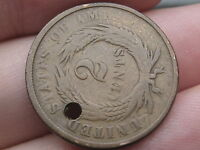 1864 TWO 2 CENT PIECE- CIVIL WAR COIN- ROTATED REVERSE MINT ERROR