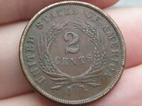 1864 TWO 2 CENT PIECE- VF/EXTRA FINE  DETAILS- WE BOLD