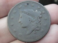 1836 MATRON HEAD LARGE CENT PENNY  VG/FINE DETAILS