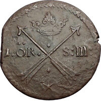 1676 SWEDEN KING CARL CHARLES XI HUGE ANTIQUE 1 ORE COIN COAT OF ARMS I57520