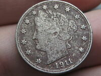 1911 LIBERTY HEAD V NICKEL  VF/XF DETAILS FULL RIMS