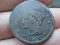 1848 BRAIDED HAIR LARGE CENT PENNY  VF DETAILS ELONGATED