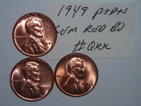 WHEAT PENNY 1949 P & S & D SET GEM RED BU 1949 D,1949 S LOT RED UNC LINCOLN CENT