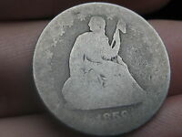 1859 P SILVER SEATED LIBERTY QUARTER  LOWBALL HEAVILY WORN