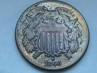 1866 TWO 2 CENT PIECE- CIVIL WAR TYPE COIN- VF DETAILS, PARTIAL WE