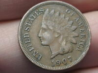 1907 INDIAN HEAD CENT PENNY XF DETAILS LIBERTY DIAMONDS CHOCOLATE BROWN