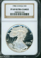 1986 S AMERICAN SILVER EAGLE ASE S$1 NGC PF69 PR69 PROOF