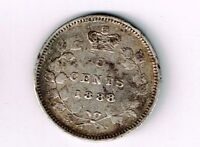 CANADA 1888 FIVE CENTS QUEEN VICTORIA STERLING SILVER CANADIAN COIN