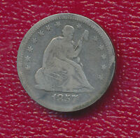 1857 O SILVER SEATED LIBERTY QUARTER NICE NEW ORLEANS COIN