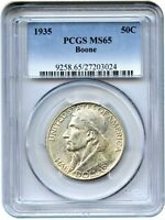 1935 BOONE 50C PCGS MS65   LOW MINTAGE ISSUE   SILVER CLASSIC COMMEMORATIVE