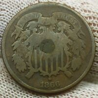 1866 TWO CENT PIECE X575 HOLED UNITED STATES OF AMERICA 2 CENT ANTIQUE COIN