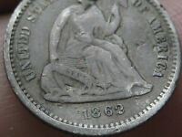 1862 SEATED LIBERTY HALF DIME  FINE/VF DETAILS