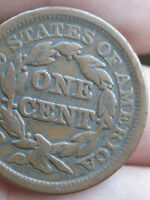 1846 BRAIDED HAIR LARGE CENT PENNY SMALL DATE FINE/VF DETAILS