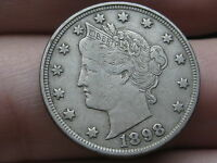 1898 LIBERTY HEAD V NICKEL- VF/EXTRA FINE  DETAILS, FULL RIMS