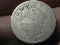 1898 LIBERTY HEAD V NICKEL- PARTIAL LIBERTY