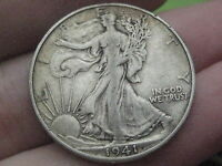 1941 D SILVER WALKING LIBERTY HALF DOLLAR  VF DETAILS  FULL DATE