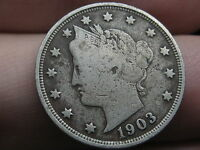 1903 LIBERTY HEAD V NICKEL- FINE/VF DETAILS, FULL DATE, FULL RIMS
