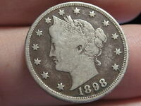 1898 LIBERTY HEAD V NICKEL- FINE/VF DETAILS, FULL RIMS